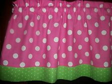 Pink Polka Dot Lime Green Trim bedroom curtain window topper Valance