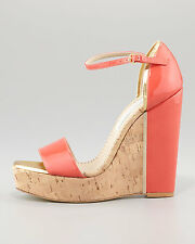 Stella McCartney d'Orsay Patent Cork Wedge, Coral Sz:40 NEW