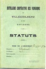 AUDE DISTILLERIE COOPERATIVE DES VIGNERONS DE VILLEGAILHENC. STATUTS