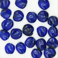 Glass Beads Cobalt Transparent Twist 12mm. Pack of 20. Made in India.