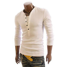 T-Shirt Men Fashion Button Front Long Sleeve V-neck Solid Casual Slim Fit Shirts