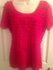 Very Important Pieces Women's Red Ruffled Scoop Neck Short Sleeve Top Large