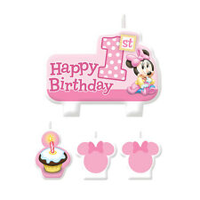 4 Piece Disney Minnie 1st Mouse Happy Birthday Cake Party Candle Set