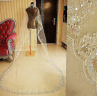 3 M Long White/Ivory wedding veil with sequins Blings Sparkles Bridal Mantilla