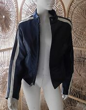 Vintage Cafe Racer White Striped Black Leather Jacket Medium