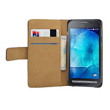 Wallet BLACK Leather Flip Case Cover Pouch For Samsung Galaxy Xcover 3
