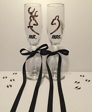 Camo Buck Doe Bride Groom Wedding Anniversary Champagne Flutes! Deer Glasses