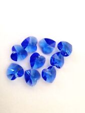 New 9 x 10mm Blue Faceted Swarovski Crystal Hearts Top Drilled