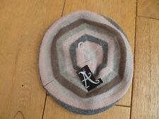 MONSOON ACCESSORIZE WOOL ANGORA BLEND PINK GREY STRIPED BERET HAT MULTICOLOURED