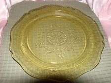 "V03 Vintage Yellow Depression Dinner Plate 11"" Round"