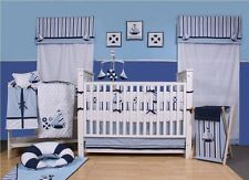 Blue Crib Set Sailor 10 Piece Nursery-in-a-Bag Bedding Baby Boy Nautical Cotton