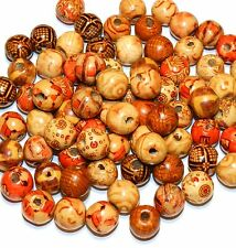W172f Earthtone Brown Mix Pattern 12mm Handcut Round Barrel Wood Beads 100/pkg
