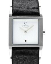 OBAKU HARMONY LADIES STAINLESS STEEL QUARTZ BLACK LEATHER WATCH, v113lcirrb