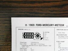 1969 Ford & Mercury & Meteor 320 HP 429 V8 2BBL SUN Tune Up Chart Great Shape!