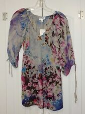 NEW FASHION BUG GRAY FLORAL SUBLIMATION PRINT 3/4 SLEEVE PEASANT BLOUSE JR SZ L