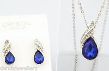 Teardrop Necklace Earrings SET Swarovski Crystal Elements Luxury Sapphire Blue