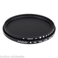 NEW 52mm ND Fader Adjustable ND2 to ND400 Variable Filter for Canon Nikon Camera