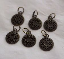 "1 1/2"" Metal Charm Purse Zipper Pull Head Repair Replace (6 pc) BRONZE MANDALA"
