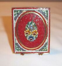 VINTAGE ITALIAN MICRO MOSAIC FRAME W/ INSERT MILLEFIORI ITALY FISH? FACE RED