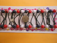 American flag  red blue white ELASTIC hair tie girl Balls Ponytail Holder tie