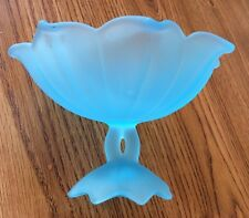 Stunning Westmoreland Frosted Peacock Blue Glass Compote / Candy Dish Marked