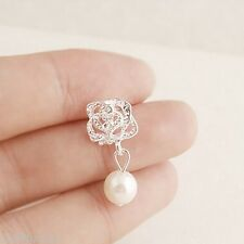 Silver Pearl Drop Earrings Crystal Rose Stud Diamante Ivory Cream Bridal Flower