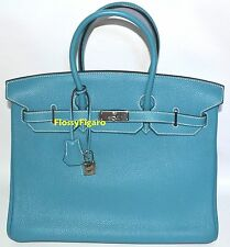 Authentic Hermes Birkin Blue Jean Togo & Palladium HW 35cm-USATO