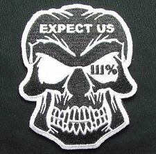 EXPECT US SKULL THREE PERCENTER 2A GLOW VELCRO® BRAND FASTENER BADGE PATCH