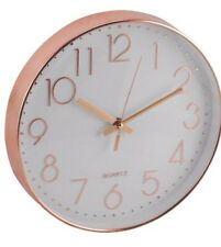 NEW COPPER EFFECT ROUND KITCHEN WALL CLOCK RETRO ROSE GOLD BRONZE NEXT DAY DESP