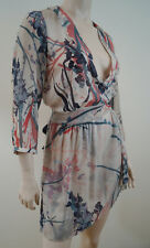 SANDWICH Cream & Multicolour Floral Sheer Belted Short Dress Sz:40; UK12