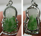 #1 1 1/16 in Natural Jade Carving Kwan Yin Buddha Pendant 22.70Ct or 4.50g 27mm