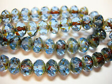 25 8x6mm Light Sapphire Blue Picasso Czech Fire polished Rondelle beads