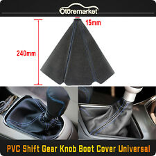 Universal Blue Stitch Black PVC Leather Manual/Auto Car Shifter Shift Boot Cover