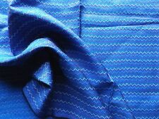 Hand Woven Pure Silk Dress Making Fabric from Thailand Blue Zig Zag Pattern