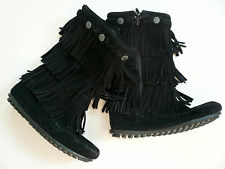 Minnetonka 3 Layer Fringe Boots in Black - Child 13UK 31EU 1US