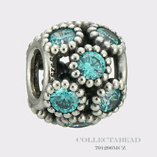 Authentic Pandora Sterling Silver Teal Studded Lights CZ Bead 791296MCZ
