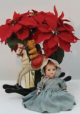 Quality A5 Blank Christmas Card Vintage Antique Roddy Doll with Poinsettia