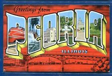 PEORIA ILLinois #2 LARGE LETTERS linen postcard FREE SHIP