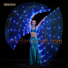 USA! Led isis wings rechargeable belly dance dancer show 126 lights blue