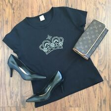 The Royal Collection Tiara T Shirt Tee Black Pageant Mom Bedazzled Beauty Queen