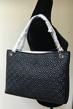NWT TORY BURCH MARION DIAMOND QUILTED SLOUCHY CHAIN TOTE SHOULDER HANDBAG BLACK