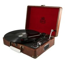 GPO Attache Vintage Brown Portable Briefcase Record Player Vinyl Turntable USB