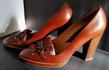 Italy Michael KORS JANE Brown Leather Fringe Shoes Antique Gold Chain Sz 9.5