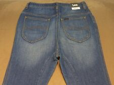 035 MENS NWT LEE SLACKER TRAK BLUE FADE STRETCH DENIM PANTS SML $150.