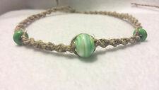 Hemp Necklace Natural Handmade Hand Blown Glass Beads Surfer Boho Green Swirl