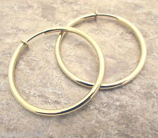 "Large Gold Gp HOOP CLIP Earrings 2"" Diameter 3mm Clipon Shiny Classic Style New"