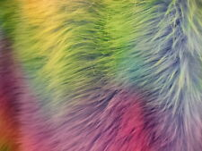"WAVE RAINBOW TIDE DYE  FAUX FUR FABRIC #1  60"" UPHOLSTERY FABRIC BY THE YARD"