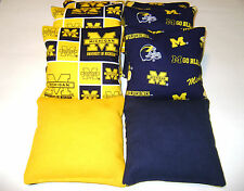 BEAN BAG TOSS GAME CORNHOLE BAGS MICHIGAN WOLVERINES SET OF 8 TAILGATE TOSS