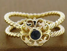 R096- REAL 9ct Solid Gold NATURAL Sapphire Rope Ring - Fleur-de-lis size N /7