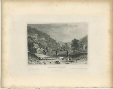 ANTIQUE VIEW NEAR PLASTRIER BELGIUM COW CALF HOUSE FISHERMAN STREAM RAPIDS PRINT